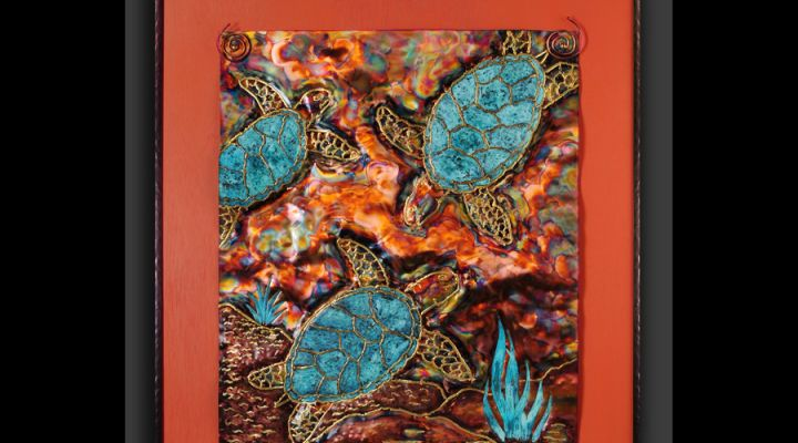 Seaturtles Copper Repousse in Frame