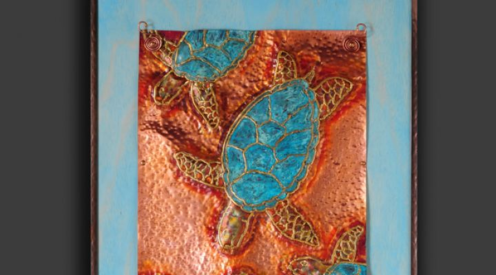 Seaturtle Copper Repousse in Frame